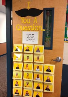 I mustache you a question.... Teacher appreciation door! I could turn it into an opinion piece door, though, or something for reading comprehension :)