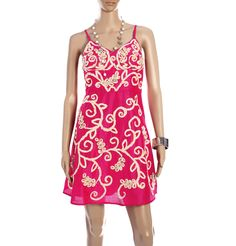 109 F - FLORAL EMBROIDERY KNEE LENGTH DRESS  This knee length strappy dress in strawberry pink is a fusion of the East and West. The floral veins and embroidery give it a very feminine charm. Dress it up with golden hoops and strappy heeled sandals.