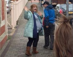 Stella Xmas Special 2016, Ruth Jones, fake pregnant belly #Moonbump Ruth Jones, Pregnancy Looks, Fur Coat, Maternity, Xmas, Winter Jackets, Celebrities, Awesome, How To Wear