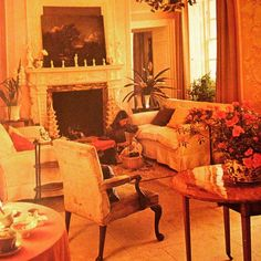 Sally Worthington in her beautifully muted drawing room at Kingston Russell House, Dorset. #britishvogue1970s