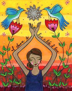 Poster : Life I love by Lori Portka via Etsy. Stage Yoga, Mode Hippie, Hippie Boho, Yoga Lyon, Frida Art, Prayer Flags, Mystique, Choose Me, My Life
