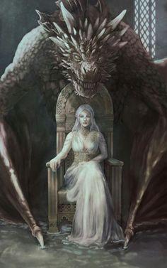 Game of thrones fanart. Daenerys Targaryen, mother of dragons - Game of Thrones Dark Fantasy Art, Fantasy Artwork, Fantasy World, Art Game Of Thrones, Dessin Game Of Thrones, Game Of Thrones Dragons, Drogon Game Of Thrones, Character Inspiration, Character Art
