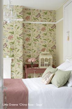 China Rose Bedroom - Inspire Me Rose Bedroom, Floral Bedroom, Bedroom Loft, Bedroom Decor, Bedroom Ideas, Earth Colour Palette, Earth Tone Bedroom, Rose Wallpaper, Bedroom Wallpaper