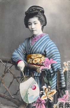 Woman in kimono. Hand-colored photo, about 1910's, Japan
