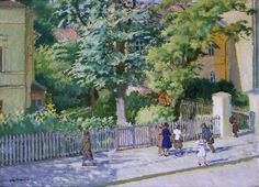 In Front of a School by Jozef Mehoffer. Medium: Oil on canvas; 18th Century, Art For Kids, Oil On Canvas, Street View, Polish, School, Garden, Artist, Artwork