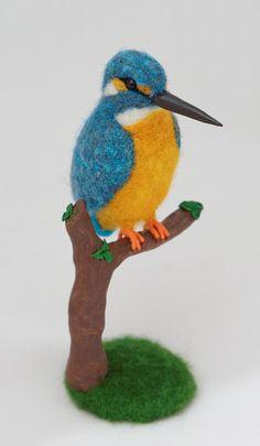 Kingfisher Needle felted bird by LilenokArt