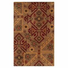 Wool rug with a Southwestern-inspired motif. Hand-tufted in India.  Product: RugConstruction Material: WoolColor: Brown, red and goldFeatures:  Hand-tuftedPart of the Arizona CollectionBold Southwestern patterns  Note: Please be aware that actual colors may vary from those shown on your screen. Accent rugs may also not show the entire pattern that the corresponding area rugs have.Cleaning and Care: Vacuum regularly with non-beater attachment. Blot stains immediately. Test cleaning products…