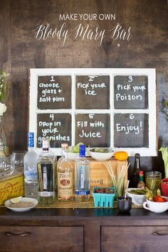 Make Your Own Bloody Mary Bar via The Sweetest Occasion. Love the window pane with instructions--clever!