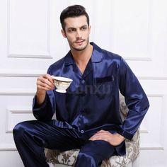 Gifts Mens Silk satin Pajamas Set Pajama Pyjamas PJS Set Sleepwear Loungewear U.S.S,M,L,XL,XXL,XXXL 4XL Plus __6Colors