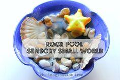 Rock Pool Sensory Small World Play & Sharing a Shell - The Imagination Tree Sensory Tubs, Sensory Boxes, Sensory Play, Toddler Fun, Toddler Activities, Sensory Activities, Kindergarten Sensory, Nursery Activities, Nature Activities