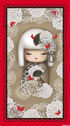 "Yoriko Dependable - Kimmidoll & Chrysanthemums - 24"" x 44"" PANEL - Quilt Fabrics from www.eQuilter.com"