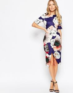Image 1 ofASOS Textured Wiggle Dress with Wrap Skirt in Watercolour Print