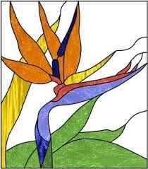 stained glass pattern :A Bird of Paradise ~ painting on glass Stained Glass Flowers, Faux Stained Glass, Stained Glass Designs, Stained Glass Panels, Stained Glass Projects, Stained Glass Patterns, Mosaic Patterns, Bird Patterns, Mosaic Art