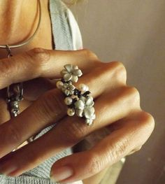 Flower Ring Branch Silver Ring Oxidized by BonTonContemporary