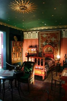 Burges Room.  This is cool.  Love the green ceiling with the medallion in the center, very similar to what I'm planning for my bedroom ceiling