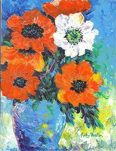 Poppy Bouquet  Original Impasto Painting Home by RickyArtGallery, $99.00