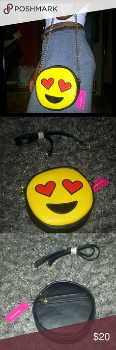 JUST IN Emoji Shoulder Purse New with tags, never worn. Purse of the Olivia Miller Handbags Collection. Super cute accessory. Olivia Miller Bags Crossbody Bags