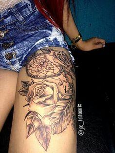 Hip Thigh Tattoos, Side Hip Tattoos, Floral Thigh Tattoos, Mini Tattoos, Body Art Tattoos, Small Tattoos, Sleeve Tattoos, Tatoos, Cuff Tattoo