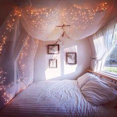 Fairy lights bedroom white