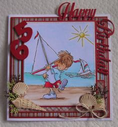 LOTV sail boat and Marianne Design Don and Daisy background summer scenery stamps, coloured with Copics, shells and numbers cut with Marianne Design dies