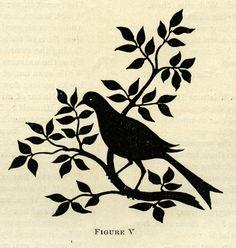 Bird on Branch Silhouette (original scan) ~ Free Graphic