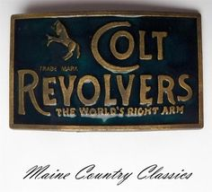 Vintage Colt Revolvers The World's Right Arm Belt Buckle Hand Guns Firearms | eBay