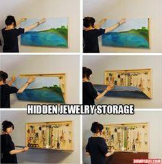 hidden jewelry storage. Ville heller ha brukt et speil m litt gode, brede rammer rundt for å ta tak og løfte opp.