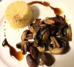 Roasted Crimini Mushrooms and Spiced Cous Cous by Jaclyn Hope More
