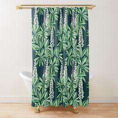 Turquoise Cabinets, Turquoise Bathroom, Black And White Tiles, Black Walls, Wallpaper Toilet, Flower Shower Curtain, Modern Sink, Wooden Slats, Blue Tiles