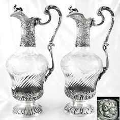 Pair Antique French Sterling Silver Cut Crystal Rococo Ewers Wine Decanters / Claret Jugs