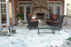 outdoor fireplace Deck Fireplace, Outdoor Fireplaces, Outdoor Ideas, Outdoor Spaces, Outdoor Decor, Room Additions, Fire Places, Outside Living, Walkways