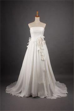 Vintage Chiffon Wedding Dress Bridal Gown Strapless A by wonderxue, $219.00