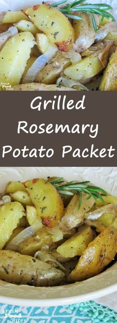"""This easy, no-fuss, no-mess Grilled Rosemary Potato Packet will go with any meat you want to throw on the grill for dinner. Flavor the potatoes with fresh rosemary, or any other herb you love, and finish them off with a sprinkle of lemon peel for burst of fresh summer flavor. Using a foil packet as the """"pan"""" and the grill to cook these potatoes keeps your kitchen neat and tidy, making clean-up time a snap!"""