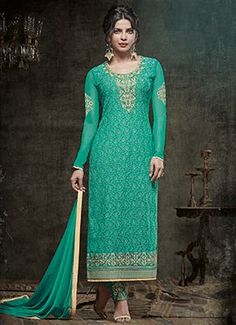 Priyanka Chopra Green Embroidered Straight Suit