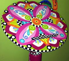 The Decorative Paintbrush, Designs by Mary Mollica: A Jazzed-Up Speaker's Podium Funky Painted Furniture, Recycled Furniture, Colorful Furniture, Furniture Projects, Furniture Decor, Painted Table Tops, Painted Chairs, Bright Decor, Tole Painting