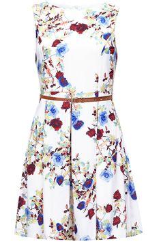 Λευκό skater φόρεμα με τριαντάφυλλα και λεπτή ζώνη από δερματίνη | Iska London | Phillyshop.gr