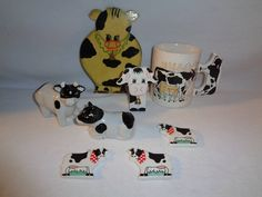 Vintage Cow Home Decor Lot - Cow Mug - Cow Magnets - Cow Salt and Pepper Shakers - Cow Wall Hanger - Cow Shelf Sitter - 8 Pieces by FremarsTreasures on Etsy