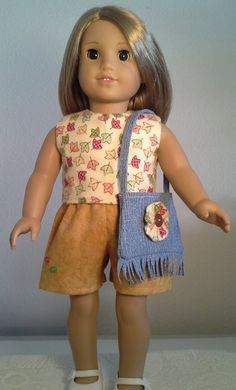 American Girl Doll Clothes Handmade 18 inch Short Set Leaf Print made for American Girl Our Generation