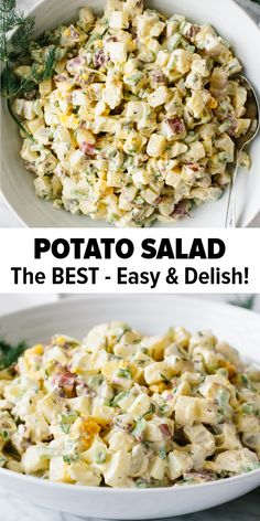This potato salad recipe is a classic! It's easy, flavorful, creamy and crunchy - that's why it's the BEST! Learn how to make potato salad that's not mushy or watery. It's a great salad recipe and perfect for barbecues, potlucks and parties. #potatosalad #potatosaladrecipe #bestpotatosalad