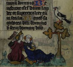 Detail of a miniature of lovers conversing in a garden; with the man holding aloft a falcon. From the Maastricht Hours (Stowe MS 17,f. 059r.), Netherlands (Liège), first quarter of the 14th century. Courtesy of the British Library's Medieval Manuscripts blog.