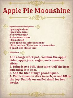 Oct Apple Pie Moonshine - Use Everclear for the liquor.add and whole to recipeApple Pie Moonshine Party Drinks, Cocktail Drinks, Fun Drinks, Yummy Drinks, Alcoholic Drinks, Bourbon Drinks, Liquor Drinks, Craft Cocktails, Cranberry Cocktail