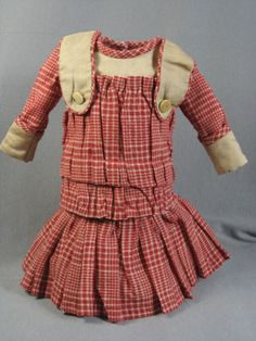 Antique Red and Tan Wool Doll Dress