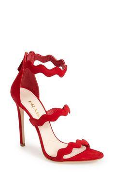 Prada ~ Red Suede Ankle Strap Sandal
