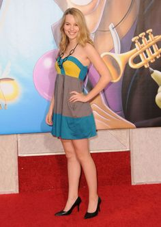 Bridgit Mendler Blue Gray And Yellow Strapless