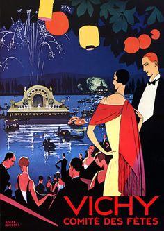 Vichy Comite Des Fetes 1920s French Travel Vintage Posters Prints