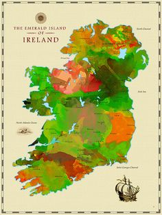 Watercolor Map of Ireland