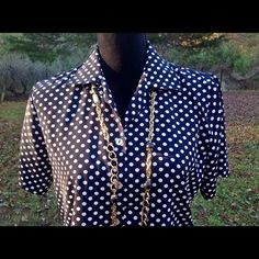 Impression Black & White Polka-Dot Blouse #Impressions #ButtonDownShirt #Career