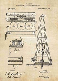 Howard Hughes Oil Drilling Rig patent print is a great addition to any roughnecks decor! Get this oil rig poster in a range of styles from patent wall art Oil Platform, Howard Hughes, Drilling Rig, Physical Properties, Oil Rig, Patent Prints, Poster Making, Friends In Love, Rigs
