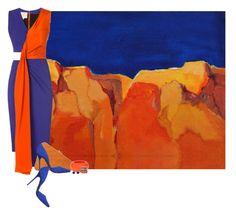 """Orange and Blue Landscape"" by amy-jean ❤ liked on Polyvore featuring Roksanda Ilincic, Charlotte Olympia, Steve Madden, Sonia Rykiel and Jamie Joseph"