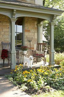 Dan DiPaolo farmhouse. Stone and sage green.